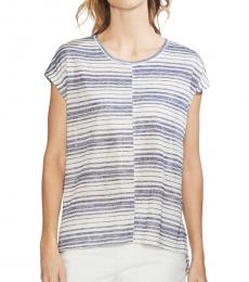 Vince Camuto Multi color Striped Cap Sleeve T-Shirt