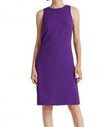 Spring Violet Snap-Trim Shift Dress