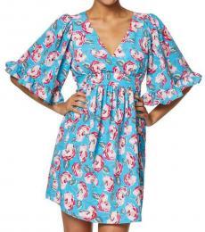 Betsey Johnson Island Blue Petite Floral Mini Dress