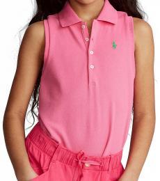Ralph Lauren Girls Baja Pink Sleeveless Polo