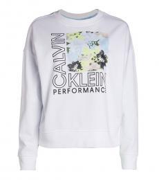 Calvin Klein White Blooms Logo Sweatshirt
