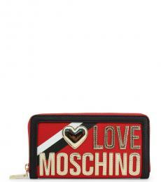 Love Moschino Red Metallic Logo Wallet