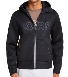 Michael Kors Navy Blue Mesh Logo Hoodie Jacket