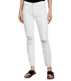 7 For All Mankind White Mid-Rise Ankle Jeans