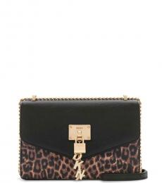 DKNY Black/Gold Elissa Leopard Medium Shoulder Bag