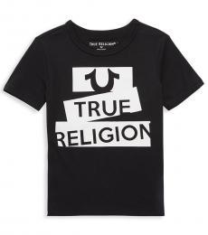 True Religion Little Boys Black Tape Logo T-Shirt