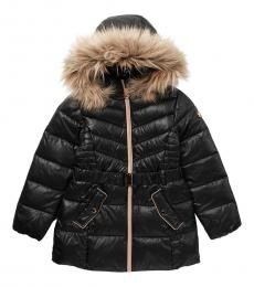 Michael Kors Girls Black Fur Belted Puffer Jacket