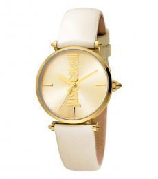 Just Cavalli Beige Gold Dial Watch