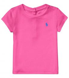 Ralph Lauren Baby Girls College Pink Cotton-Modal T-Shirt