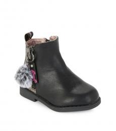 Little Girls Black Faux Fur Pom-Pom Booties