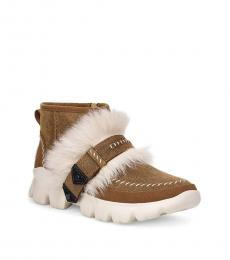 Chestnut Fluff Punk Ankle Boots
