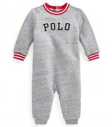 Ralph Lauren Baby Boys Grey Logo Fleece Coverall