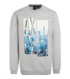 Armani Exchange Grey Graphic Logo Sweatshirt