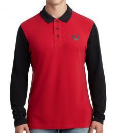 Red Logo Long Sleeve Polo