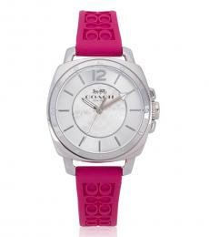 Coach Pink Logo-Embossed Watch