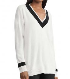 Ralph Lauren Winter Cream V-Neck Sweater Top