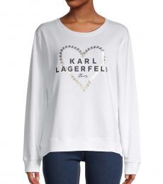 Karl Lagerfeld Soft White Graphic Heart Logo Sweatshirt