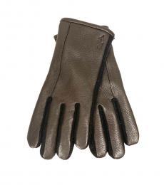 Ralph Lauren Brown Logo Touch Screen Gloves