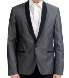 Grey Wool One Button Blazer
