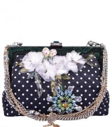 Dolce & Gabbana Black Embroidered Small Satchel