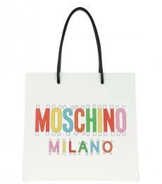 Moschino White Logo Medium Tote