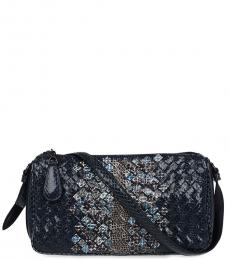 Bottega Veneta Dark Blue Woven Small Crossbody