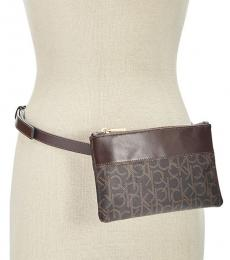 Brown Logo Embossed Belt Bag