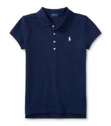 Girls Navy Cotton Polo Polo