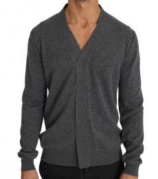 Grey Cashmere V-Neck Pullover