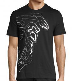 Black Silver Graphic Cotton T-Shirt