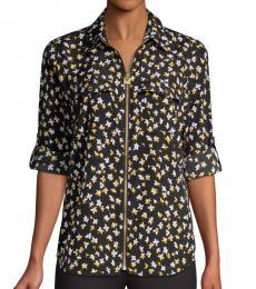 Black Floral Zip-Front Blouse