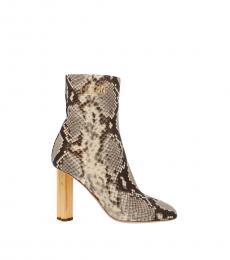 Snake Print Leaf Heel Boots