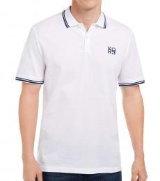 Michael Kors White Stacked Logo Polo