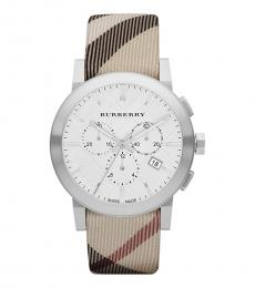Burberry Beige Silver Dial City Watch