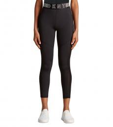 DKNY Black High-Waist Mesh Inset Leggings