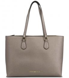 Grey Solid Large Tote