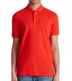 Versace Collection Orange Medusa Logo Embroidery Polo
