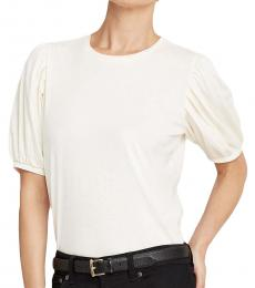 Ralph Lauren Cream Cotton Jersey Puff-Sleeve Top
