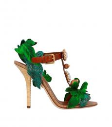 Dolce & Gabbana Multicolor Leafs Jewel Heels