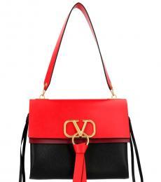 Valentino Garavani Black Red Vring Large Shoulder Bag