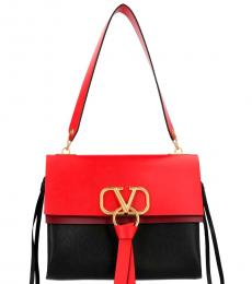 Valentino Garavani Black Red Vring Large Shoulder Bag