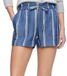 Blue Striped Tie Waist Shorts