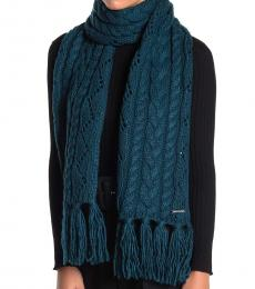 Michael Kors Teal Pointelle Cable-Knit Scarf
