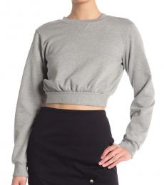 Rebecca Minkoff Light Grey Molly Tie Back Crop Pullover