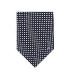 Versace Navy Pink Gingham Tie