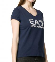 Emporio Armani Navy Blue Stretch Cotton Logo T-Shirt