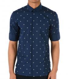 Neil Barrett Dark Blue Short Sleeve Maltese Shirt