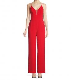 BCBGMaxazria Red Sleeveless Illusion Jumpsuit