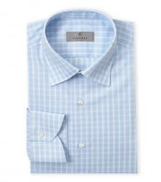 Canali Light Blue Plaid Modern Fit Dress Shirt