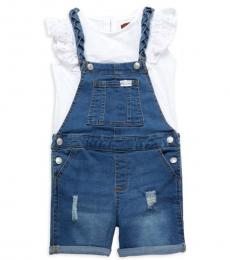 7 For All Mankind 2 Piece Top/Shortall Set (Little Girls)